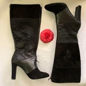 Anne Klein Jamielee Leather Black Knee High Boot